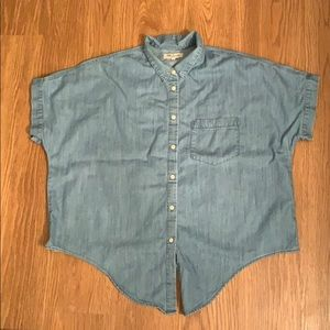 Madewell Denim Short-sleeve Tie-front Shirt